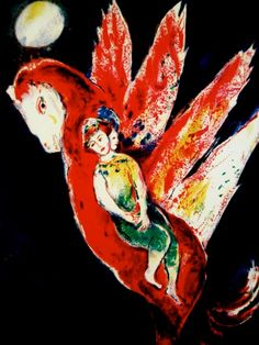 Marc Chagall, 'Then the old woman mounted the Ifrit's back, pl. 7 from Four Tales from the Arabian Nights', 1948 Marc Chagall, Artist Chagall, Chagall Paintings, Miro Paintings, Museum Hannover, Art Beauté, Illustration Art, Illustrations, Diego Rivera