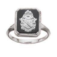 Alpha Gam Square Onyx Armorial Bearings Ring