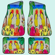 Flip Flops and Flowers Beach Art Car Floor mats