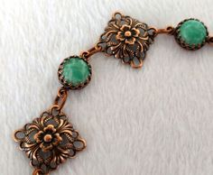 Copper and Amazonite Bracelet with Lobster by BrokenHipJewelry