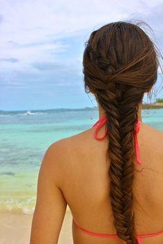 Grow hair grow!!! Braided Ponytail Hairstyles, Fishtail Braids, Beach Hairstyles, Great Hairstyles, Gorgeous Hairstyles, Braid Hair, Hairstyle Ideas, Love Hair, Pretty Hair