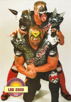 LOD 2000 Pinup Poster - Superstars of Wrestling Magazine Warrior Hawk and Road Warrior Animal here looking completely unrecognizable with their full heads of hair and updated attires. Female Wrestlers, Wwe Wrestlers, Wwe Pictures, The Road Warriors, Wrestling Stars, Pin Up Posters, Wrestling Superstars, Favorite Pastime, Professional Wrestling