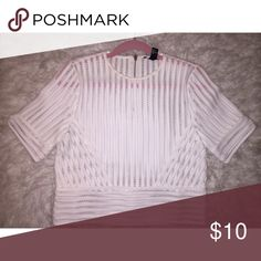 White mesh crop too **Never worn before**Forever 21 white mesh see through crop top Forever 21 Tops Blouses