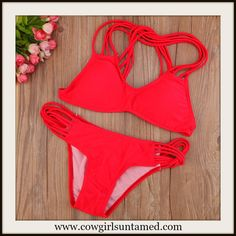 COWGIRLS ROCK BIKINI Red Strappy Criss Cross Back Push Up Bust Bikini Set #bikini #sexy #swimsuit #bathingsuit #swimwear #strappybikini #redbikini #red #strappy #fashion #boutique #Cowgirl #style #beach #summer
