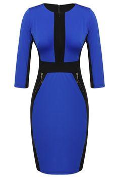Women Casual Bodycon Slim Zipper Elegant Work Dresses