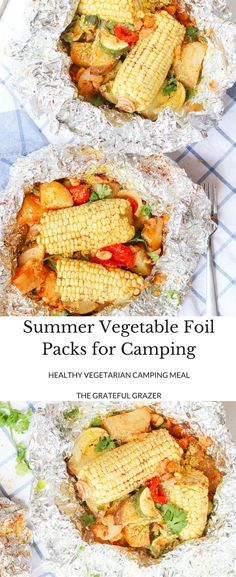 Ad: Foil packs are the easiest way to get your vegetables and plant-based protein while camping! Made with potatoes, corn, white beans, garlic, and paprika. via @gratefulgrazer #HalfCupHabit
