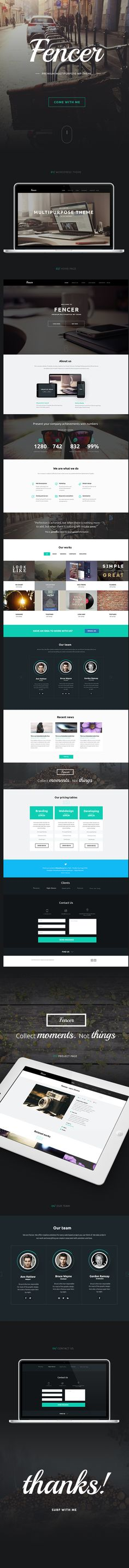 This could be a useful theme if we wanted to go WP.  Fencer - wordpress theme by Ann Tereschenko, via Behance