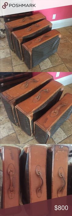 4 Pieces Vintage Louis Vuitton Luggage I have four pieces, one small, one medium, two large.i would like to sell all four pieces for $800 otherwise $300 for all except for the one large has a broken frame. Leather is worn but the vinyl is good one all of them. Louis Vuitton Bags Travel Bags