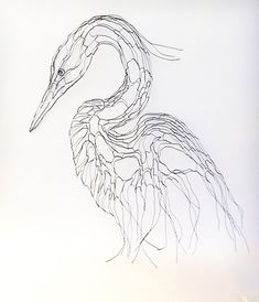 Wire Sculpture Heron Egret 2D 27 Wall Art By Elizabeth Berrien