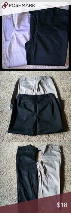 Loft capri pants bundle 2 pair included.  Black and taupe. Hook and eye and button closure.  Both pair in excellent condition. Great staples in any wardrobe.  Metallic marker? Stain on black pair (see last pic) i haven't tried to get it out LOFT Pants Capris