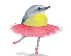 Ballerina Bird Watercolor PRINT - 5x7 Illustration, Ballet Art, Robin Watercolour, Bird Painting
