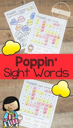 These fun, no prep FREE Poppin Sight Word Worksheets are such a fun way for preschool, kindergarten, and first graders to practice these essential words. Sight Words Printables, Sight Word Worksheets, Sight Word Games, Sight Word Activities, Phonics Activities, Free Printables, Kindergarten Learning, Fun Learning, Learning Activities