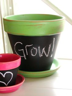 Large Flower Pot Green and Chalkboard by moxiesisters on Etsy, $16.00