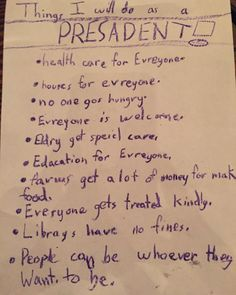 One eight-year-old's list for what she would do as president. What do you think of her list? ✊ This is what we fight for. With kids like this, our future is bright! We The People, Good People, Amazing People, Running For President, 10 Year Old, Lists To Make, Food For Thought, Just Go, Make Me Smile