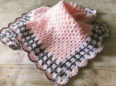 Pink Baby Blanket, Crochet Baby Blanket, Pink Crochet Afghan, Pink Baby Afghan, Pink Gray Blanket, Crochet Baby Blanket, Handmade Blanket, Baby Shower Gift, Ready to Ship, Baby Afghan, Crochet Blanket, Newborn Baby Blanket NEW: Now also available in pink, blue, mint, yellow and
