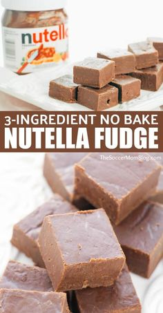 This Nutella microwave fudge is beyond easy and oh-so-delicious! Only 3 ingredients! Desserts Nutella Fudge - Only 3 Ingredients! Nutella Brownies, Desserts Nutella, Easy Desserts, Delicious Desserts, Yummy Food, Healthy Desserts, Pie Brownies, Nutella Cheesecake, Easy Sweets