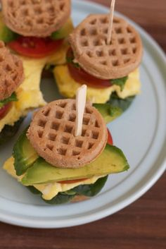 Four Kitchen Decorating Suggestions Which Can Be Cheap And Simple To Carry Out Mini Waffle Breakfast Sandwiches Quick, Easy To Make And Healthy Made With Grill Breakfast, Croissant Breakfast Sandwich, Waffle Sandwich, Gourmet Breakfast, Make Ahead Breakfast Sandwich, Breakfast Waffles, Breakfast Sandwiches, Homemade Breakfast, School Breakfast