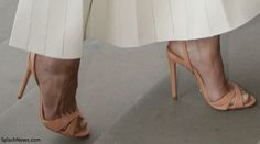 Kate's new shoes as the Dollie Suede Sandals by Brazilian based brand Schultz. The antique-rose sandals feature an open toe and buckle-fastening ankle strap. The sandals are available for $90 in several colours at ShopBop and Heels.com.