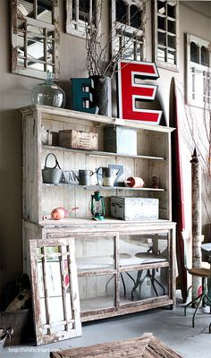 Beautiful rustic cabinet with hutch.  Shift Ctrl ART - Decorate, Craft, DIY, Art and more