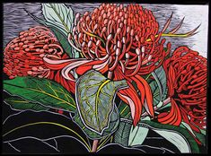 Patternbank love Gail Kellet's linocut studies of the Australian flora and fauna where she lives on the Fleurieu Peninsula, Southern Australia. Australian Wildflowers, Australian Native Flowers, Australian Artists, Art Floral, Botanical Art, Botanical Illustration, Linocut Prints, Art Prints, Block Prints