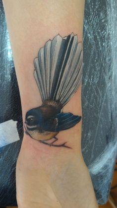 First tattoo - Fantail by Aja Ann at Agency Inc., Dunedin, New Zealand. Maori Tattoos, Key Tattoos, Dream Tattoos, Skull Tattoos, Foot Tattoos, Sleeve Tattoos, Tatoos, Ma Tattoo, Cover Tattoo