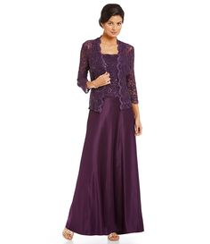 Eggplant:Alex Evenings Sequined Scalloped Lace Jacket Dress