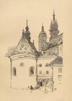 Kościół Panny Maryi od Małego Rynku - Leon Wyczółkowski