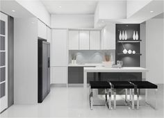 Kitchen , Awesome Contemporary Kitchen Design Ideas 2016 : Sleek White And Grey Kitchen Idea With Nice Arrangement For Contemporary Feel