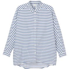 Ylva shirt (€36) ❤ liked on Polyvore featuring tops, shirts, striped top, stripe top, oversized shirt, collar top and collared shirt