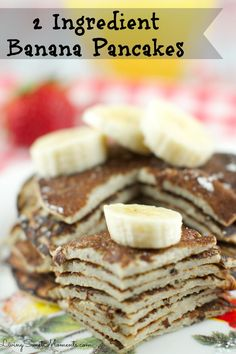 2 Ingredient Banana Pancakes Recipe -  so easy to make! All you need is 2 eggs and a banana in a blender! That's it. They are gluten free, healthy and so delicious. Enjoy a quick breakfast that will fill you up without added sugar. More on www.livingsweetmoments.com