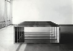 Donald Judd     b. 1928-1994       Untitled  1968  Stainless steel  5 units, 48 x 120 x 20 inches each; placed at 5 inch intervals (121.9 x 304.8 x 50.8 cm)