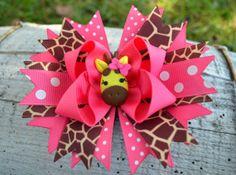 Hot Pink & Giraffe Print Hairbow by GracefulGirls on Etsy, $12.50