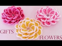 Como tejer fácil y rápido flores en una sola tira- Make creates beautiful flowers cute gifts - YouTube