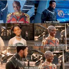 Black Panther: I wasn't expecting Humor in the movie. Just the right amount and it felt very natural (not forced at all). Loved it! <<< Of course there would be humor, it's a MARVEL MOVIE Avengers Memes, Marvel Jokes, Marvel Funny, Marvel Dc Comics, Marvel Heroes, Marvel Avengers, Shuri Black Panther, Wakanda Marvel, Dc Memes