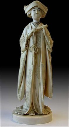 Antique Japanese Ivory Okimono Young Bride In Ceremonial Gown Signed: Sogyoku, Circa: Meiji, 19th Century. 10 in. H