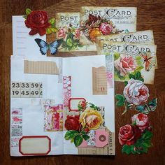 Planning this week's layout in my  #travelersnotebook. The theme/colors are inspired by scraps cut from a @pamgarrison class hand out (Art in Ashland -- that was the best!) and flowers cut from postcards I recently uncovered while cleaning. #dennisonlabels #yearofephemera
