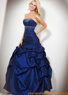 Elegante Abendkleider blaue Abendkleider aus Satin mit Perlen