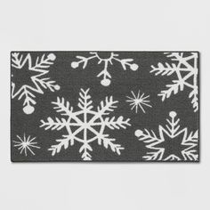 """1'8""""x2'10"""" Tufted And Looped Accent Rug Snowflakes Grey - Threshold, Gray"""