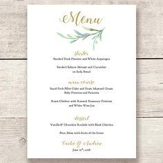 Wedding greenery menu template