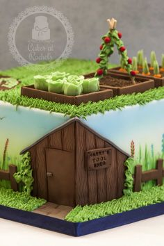 Garden themed cake for an 80th birthday. Follow me at www.facebook.com/Cakes.at.Rachels for more!