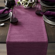 Grasscloth Violet Purple Table Runner - Crate and Barrel Coffee Table Runner, Table Runners, Coffee Tables, Barrel Table, Crate And Barrel, Purple Table Settings, Purple Kitchen, Diy Room Decor, Crates