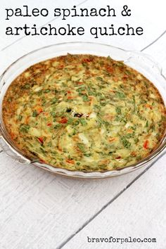 Orig pinned said: This Spinach and Artichoke Quiche Recipe is so delicious! It's crustless, grain-free, dairy-free, and completely Paleo. Spinach And Artichoke Quiche Recipe, Artichoke Recipes, Paleo Quiche, Dairy Free Quiche Recipes, Quiche Crustless, Dairy Recipes, Milk Recipes, Paleo Breakfast, Breakfast Recipes