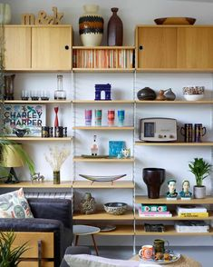 Modern romance: turning a grey box into a colourful retro home | Interiors | The Guardian G Plan Sideboard, Living Area, Living Spaces, String Shelf, Dazzle Camouflage, 1960s House, Modern Romance, Retro Pattern, Retro Home