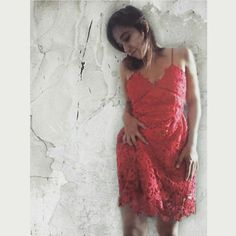 #red #lace #dress