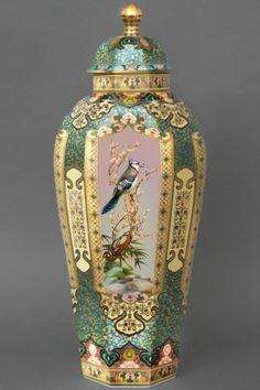 Octagonal Turquoise Vase with Birds | Herend Austria