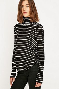 Free People Striped Drippy Black Thermal Top