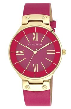 Anne Klein Round Leather Strap Watch, 38mm available at #Nordstrom