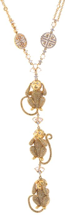 Lorraine Schwartz Monkey-trio necklace. White diamonds, yellow diamonds, 18k gold, and three monkeys that hear no evil, speak no evil and see no evil, by Lorraine Schwartz. Via 1stdibs.