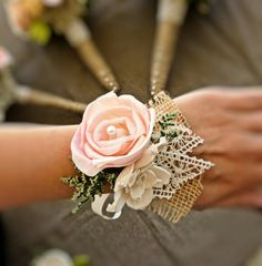 Lace and Burlap Wrist Corsage