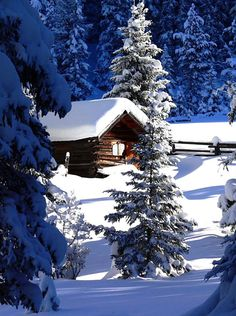 Swiss snow covered cabin.